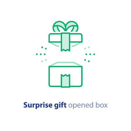 Surprise gift icon, opened green box with ribbon, best present, super prize concept, special event celebration, receiving birthday gift, vector flat design illustration