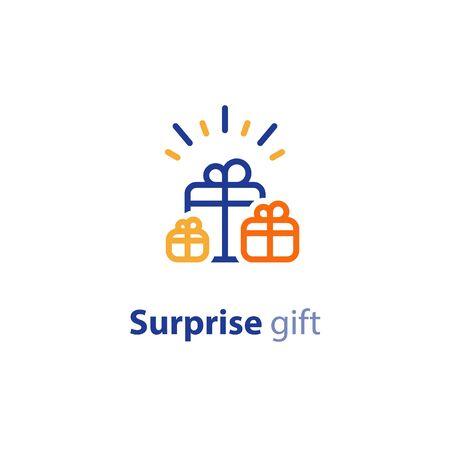 Gift boxes for rewards, congratulations concept, surprise award, vector line icon