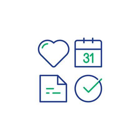 Heart diagnostic, healthcare icon set, medical check up date, health diagnostic, vector mono line design Illustration