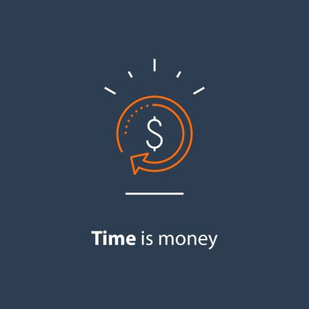 Currency exchange, cash back, quick loan, mortgage refinance, refund, insurance concept, fund management, business solution, finance service, return on investment, stock market, vector line icon Stock Vector - 128586664