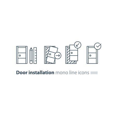 Door installation services, replacement steps, vector mono line icons set Illustration