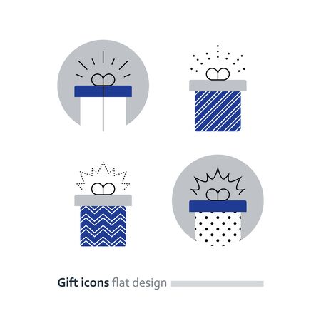 Special gift box, best present idea concept, creative perfect gift, surprise box package, reward icon, vector flat illustration