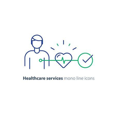 Test di prevenzione delle malattie cardiovascolari, diagnostica cardiaca, logo dell'elettrocardiografia, schermo del monitor medico, procedura di ecg, controllo del rischio di ipertensione, icona di linea mono vettoriale