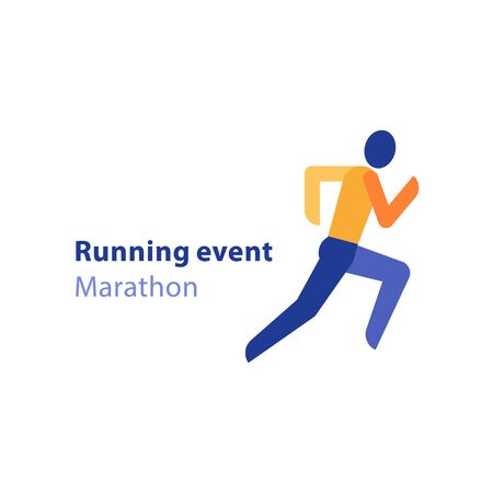 Running person side view, abstract runner logo, marathon event, sport activity, triathlon running concept, vector flat design icon Illustration