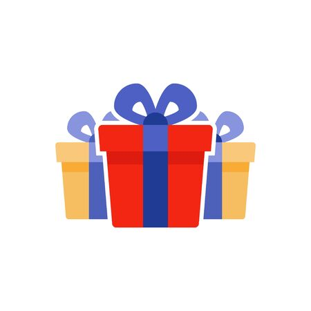 Special prize, reward gifts, surprising present box, red gifts with blue ribbon, bonus concept, loyalty program, group of three objects, vector flat icon Illustration