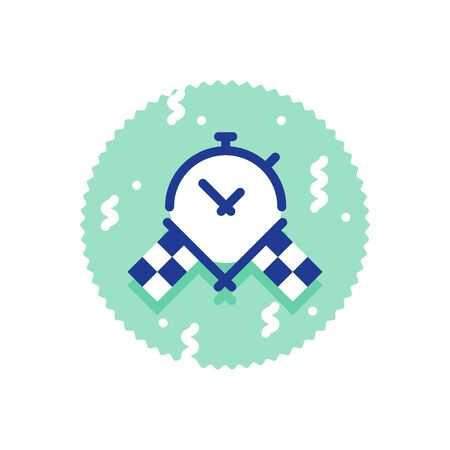 Race challenge, best time result, crossed checkered flags, stop watch icon, super fast delivery service, deadline concept, vector flat illustration