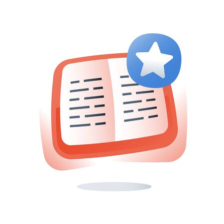 Open text book exercise, learn subject, education content, school assignment, study course, fast reading, creative writing, knowledge review, grammar book, exam preparation, flat icon