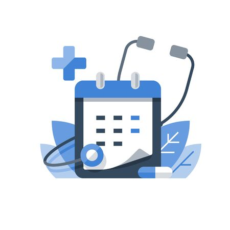 Annual medical exam, regular health check up, medication course, calendar and stethoscope, preventive examination appointment, medical services, vector icon, flat illustration
