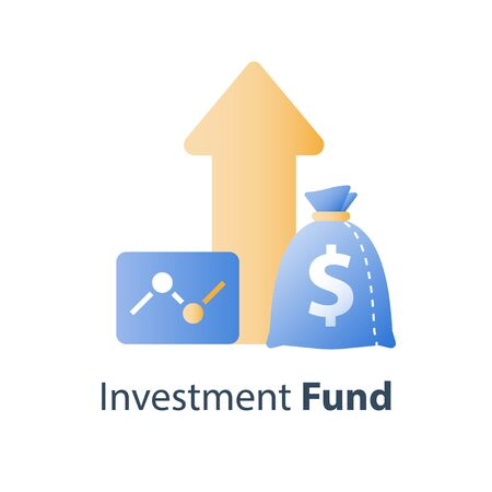 Financial growth report, fund management, revenue increase, return on investment, interest rate, earn money, stock market strategy, vector icon