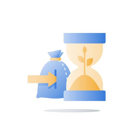 Time is money, hourglass and plant stem, wealth growth, financial security, future confidence, pension fund, superannuation concept, income growth, capital value increase, sand glass, vector icon
