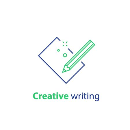 Kreatives Schreiben, Storytelling-Konzept, Bleistift und Blatt Papier, Copywriting, Vektorliniensymbol Vektorgrafik