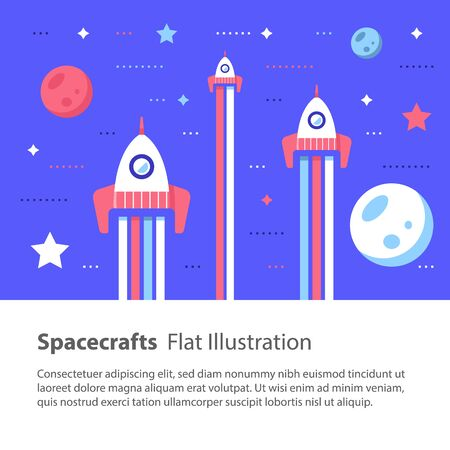 Three spacecrafts flying in space among stars and planets, space race, children flat illustration Stock Illustratie