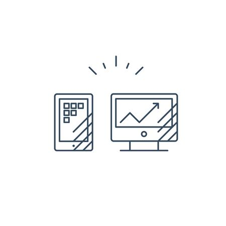 Desk top computer screen and smart phone mono line icon, online business concept vector