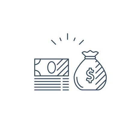 Money bag, bills stack, financial investments stock market, income and revenue concept, money return, pension fund plan, budget management, savings account, banking vector icon Illustration
