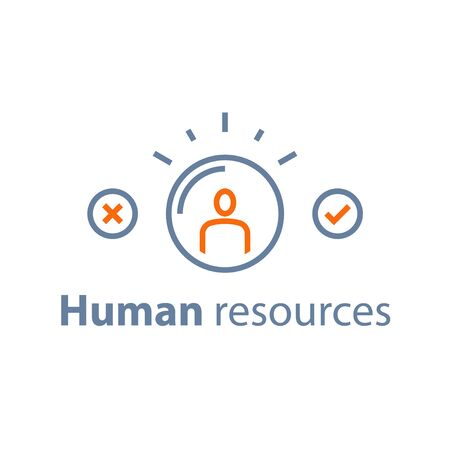 Recruitment service, human resources,  choose candidate, fill vacancy, employment concept, vector line icon, thin stroke 向量圖像