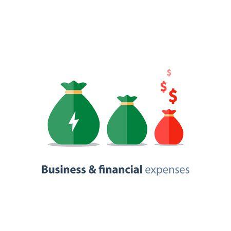 Déficit budgétaire, réduction des finances, diminution des revenus, dévaluation de l'entreprise, dépenses de l'entreprise, charge financière, tendance négative, icône vectorielle, illustration à plat
