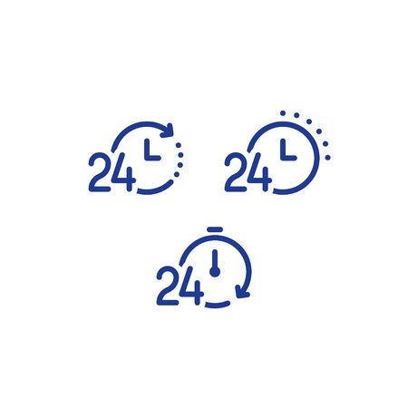Servicio de 24 horas al día, tiempo rápido, símbolo de cronómetro, concepto de período de tiempo, horas de trabajo, entrega rápida oportuna, servicios urgentes y urgentes, conjunto de iconos de línea vectorial Ilustración de vector