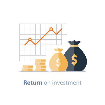 Graphique de productivité financière, graphique de retour sur investissement, planification budgétaire, concept de dépenses, rapport comptable, croissance des revenus, tableau de bord statistique, icône plate vectorielle