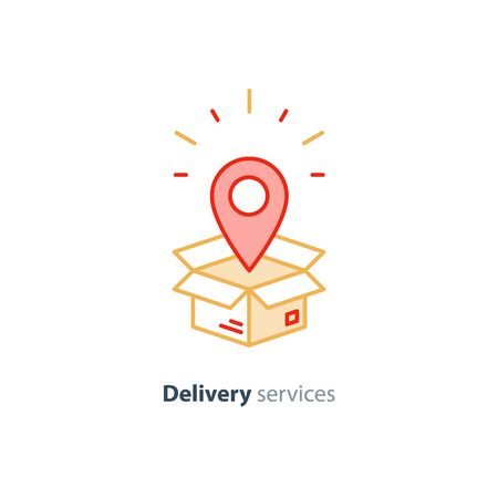 Delivery services, opened box, logistics and transportation, relocation concept, cargo shipment, distribution vector mono line icon 向量圖像