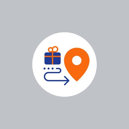 Box delivery services, fast relocation, transportation company logo elements, shipping order, distribution line icon, tracking parcel outline vector 向量圖像