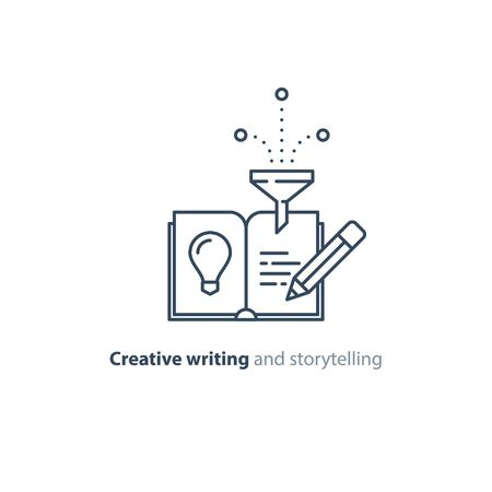 Creative writing concept, storytelling, content management, assay composition, education book, vector mono line icons Vector Illustration