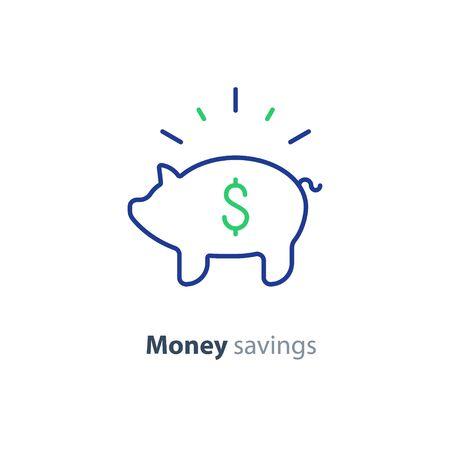 Piggy bank concept, long term investment, savings account deposit, pension fund money, financial planning, vector flat icon Ilustração