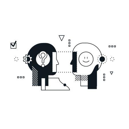 Psychology education concept. Emotional intelligence concept, communication skills, reasoning and persuasion. Linear design illustration Vecteurs