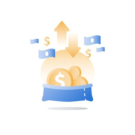 Fund raising, capital management, financial account, money flow control, value investment, savings account, vector icon Illustration
