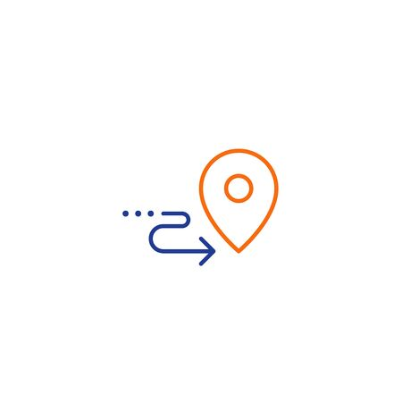 Shipping order and delivery services, relocation concept, transportation company  elements, distribution line icon, tracking parcel outline vector 向量圖像