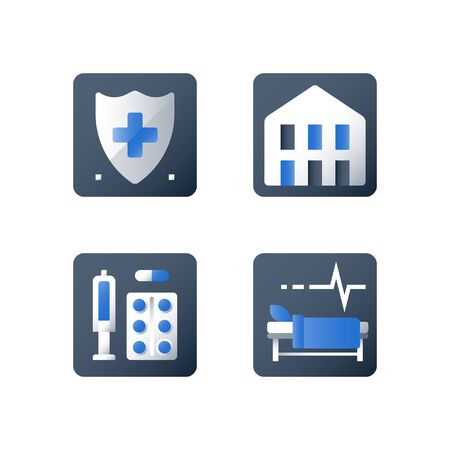 Hospital bed, medical attendance, hospitalization and treatment, stationary therapy, rehabilitation ward, hospice services, vector flat icon collection