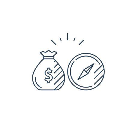 Financial investment strategy concept, finance planning compass, business guidance mono line vector illustration Illusztráció
