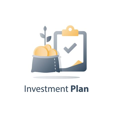 Fast cash loan, quick easy money, invest fund solution, lucrative portfolio, secure finance investment, savings account, banking services, interest rate, vector icon Ilustração