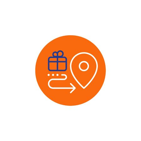 Box delivery services, fast relocation, transportation company elements, shipping order, distribution line icon, tracking parcel outline vector Standard-Bild - 128754038