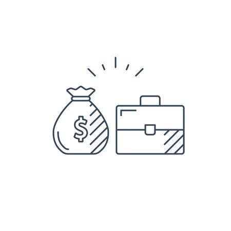 Financial investment strategy and management concept, finance planning, business start up money, dividend mono line vector illustration Illusztráció