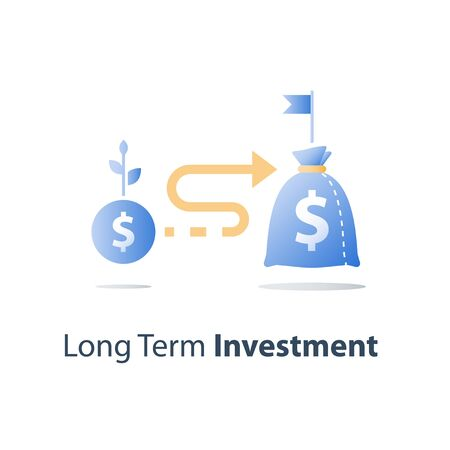 Budget planning, return on investment, cash loan, earn more money, income growth, long term savings account, pension fund payment, financial concept, vector icon Illustration