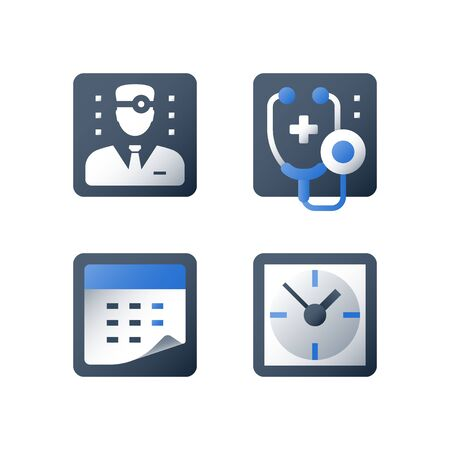Doctor appointment, clock and calendar, healthcare and medical concept, vector flat icon set