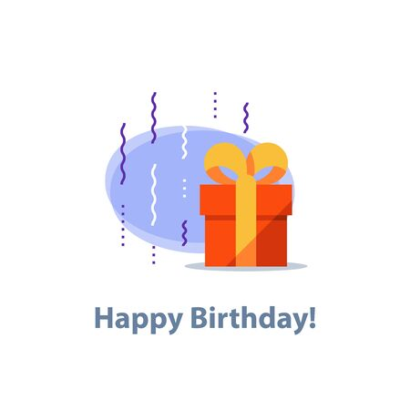 Surprising gift, red box, yellow ribbon, present giveaway, receiving special prize, happy birthday congratulation concept, event idea, fun celebration, confetti falling, vector icon, flat illustration