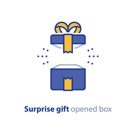 Surprise gift icon, opened blue box with yellow ribbon, best present, super prize concept, special event celebration, receiving birthday gift, vector flat design illustration