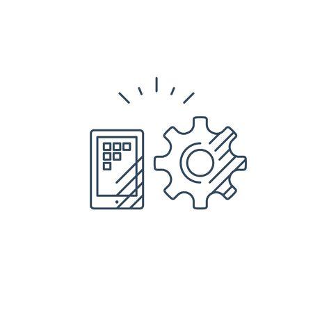 Smart phone app technology, gear wheel vector mono line icon 向量圖像