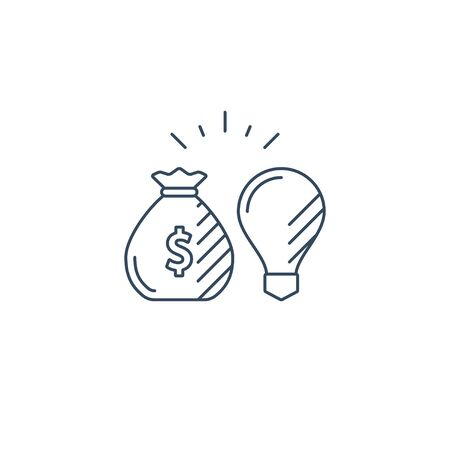 Financial investment strategy concept, finance planning, business start up idea, mono line vector illustration
