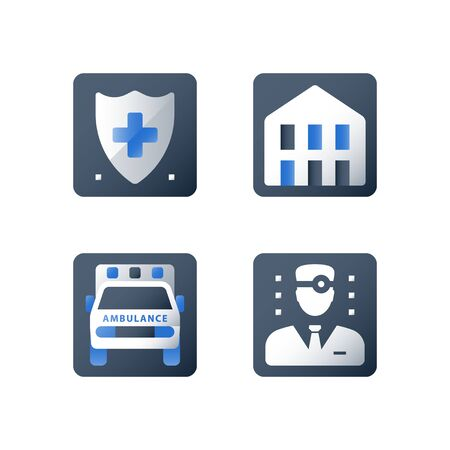 Medical insurance, health care, shield and cross, hospital services, hospice concept, vector flat icon set