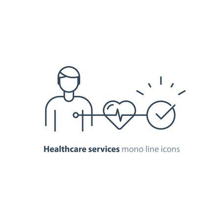 Präventionstest für Herz-Kreislauf-Erkrankungen, Herzdiagnostik, Elektrokardiographie, medizinischer Bildschirm, EKG-Verfahren, Bluthochdruck-Risiko überprüfen, Vektor-Mono-Line-Symbol Vektorgrafik