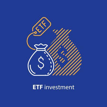 ETF investment concept, bigger return on investing money, finance control, pension savings planning, superannuation, vector line icon Illusztráció