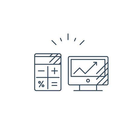 Desk top computer screen mono line icon, online business concept vector