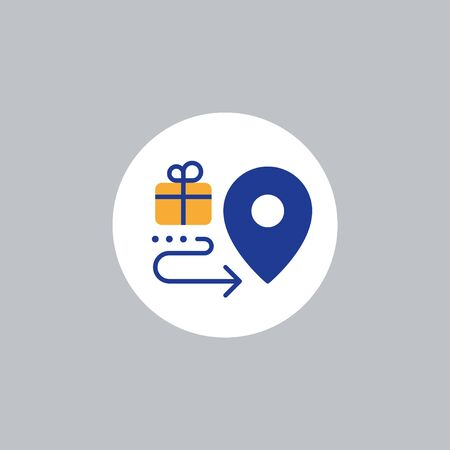 Box delivery services, fast relocation, transportation company elements, shipping order, distribution line icon, tracking parcel outline vector 向量圖像