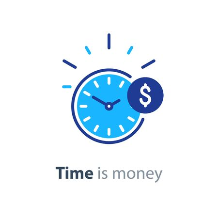 Time is money concept, clock and coin, long term financial investment, superannuation savings, future income, annual revenue, money profit and benefit, vector flat line icon Illustration