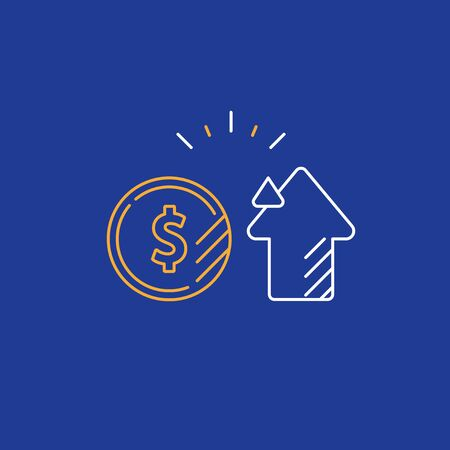 Financial investment and management concept, finance planning, business start up money, pension plan, retire savings, superannuation, vector line icon Illustration