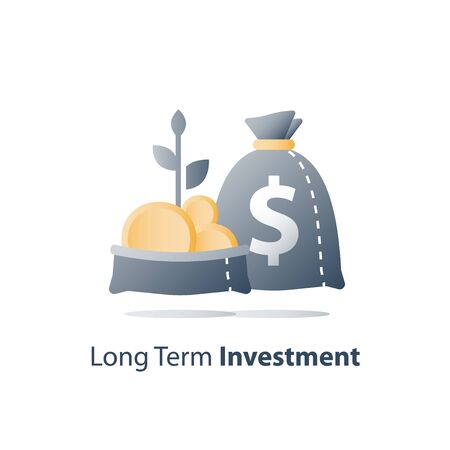 Fast finance asset growth, revenue increase, earn more money, open bag with gold coins and plant stem, invest fund, wealth management, future interest, value investment, vector icon Stock Vector - 128754585