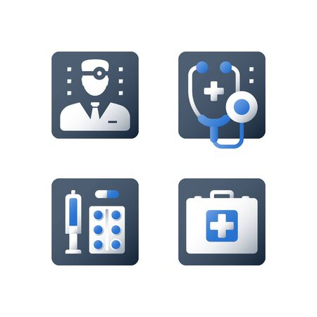 Medicine prescription, medical help, medication therapy, health care services, vector flat icon Ilustracja