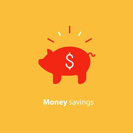 Piggy bank concept, long term investment, savings account deposit, pension fund money, financial planning, vector flat icon Illusztráció